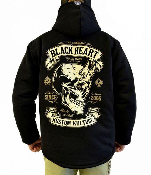 bunda pánska BLACK HEART - DEVIL SKULL LINED - BLACK - 003-0045-BLK