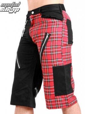 kraťasy pánske Black Pistol - Tartan Short Pants Black / Red - B-1-45-060-04