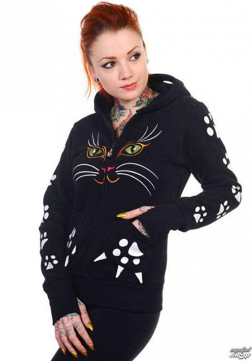 mikina dámska BANNED - Cat - Black - HBN016