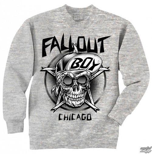 mikina pánska Fall Out Boy - Skull - Grey - LIVE NATION - PE10832CNC