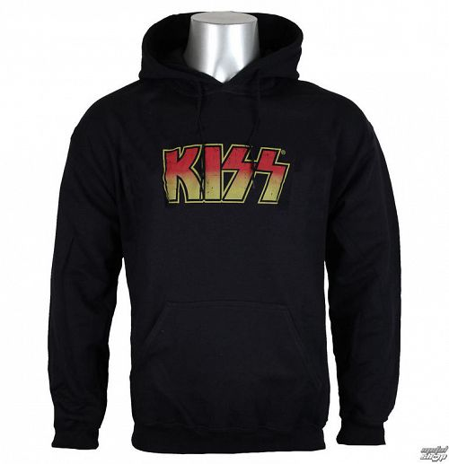 mikina pánska KISS - Distressed Logotype Big & Tall - HYBRIS - ER-39-&&string2&&004-H68-4-BK