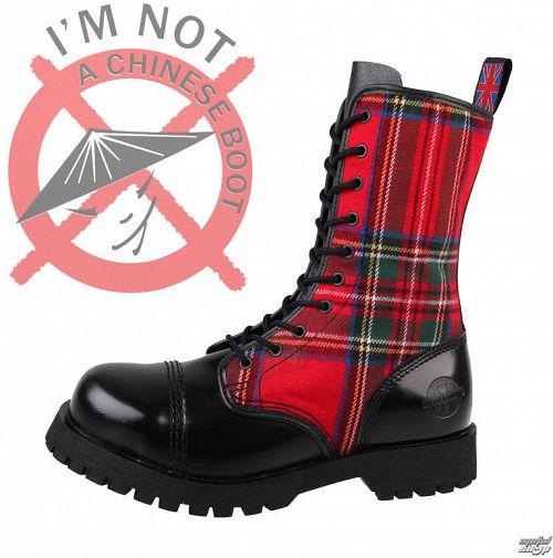 topánky NEVERMIND - 10 dierkové - Black / Red Tartan - 10110S