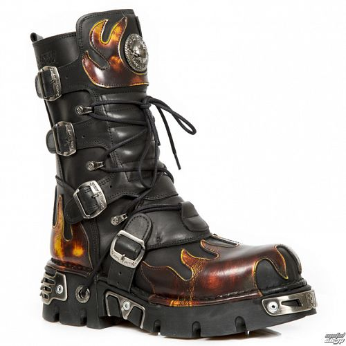 topánky NEW ROCK - Flame Boots (591-S1) Black-Orange - N-8-05-700-09