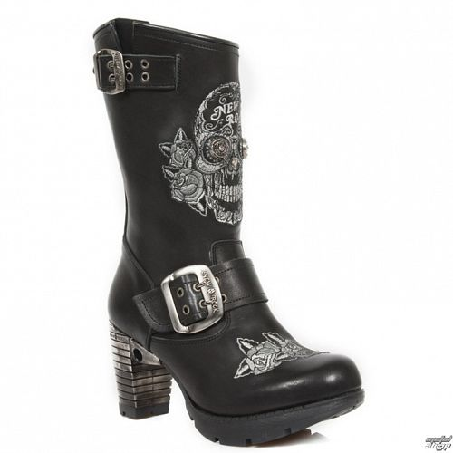 topánky NEW ROCK - NEGRO BORDADOS GRIS - M.TR047-S1