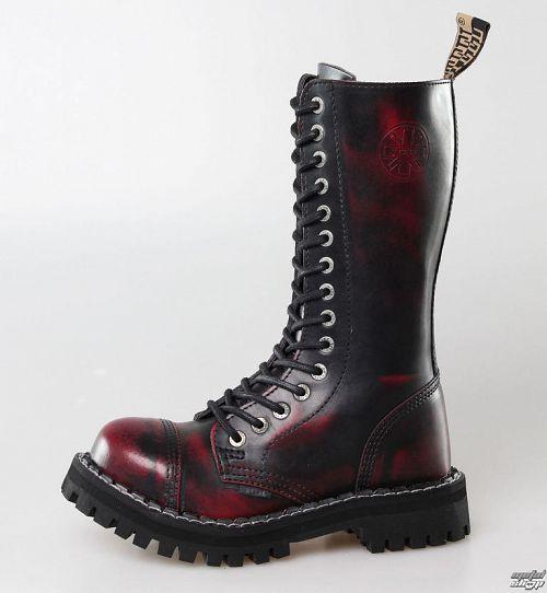 topánky STEEL - 15 dierkové Vínové (135/136 Red black-Burgund )