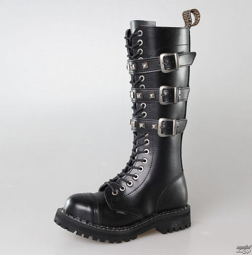 topánky STEEL - 20 dierkové 139/140 BLACK 3P PIRAMID