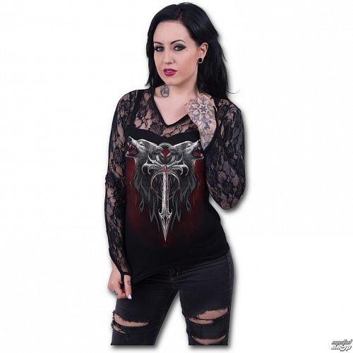 tričko dámske s dlhým rukávom SPIRAL - Legiend Of The Wolves - Black - D063F434