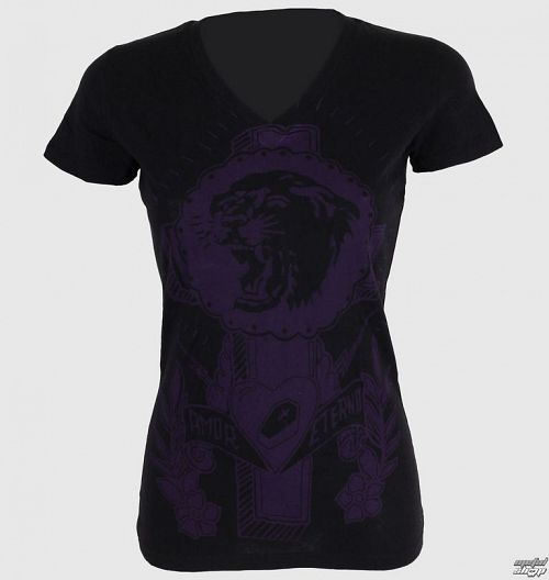 tričko dámske SOMETHING SACRED - Tiger Cross One color V-neck - SSW-02