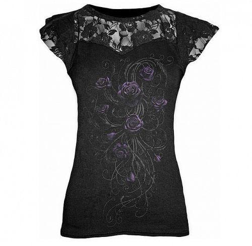 tričko dámske SPIRAL - Entwined - Lace Layered Viscos Blk - DT186262