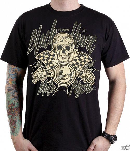 tričko pánske BLACK HEART - MOTO PSYCHO - BLACK - 001-0090-BLK