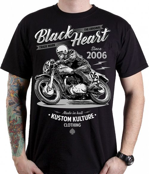 tričko pánske BLACK HEART - MOTOR CYCLE - BLACK - 001-0110-BLK