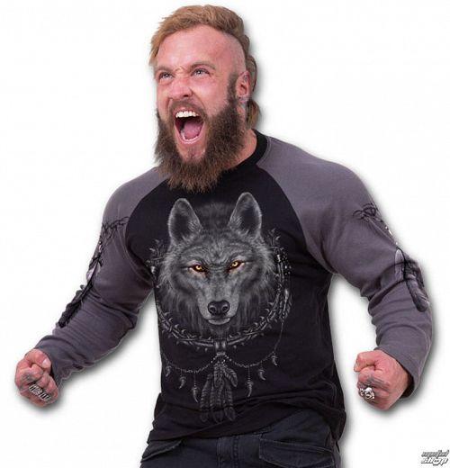tričko pánske s dlhým rukávom SPIRAL - Wolf Dreams - Charcoal Black - T035M314