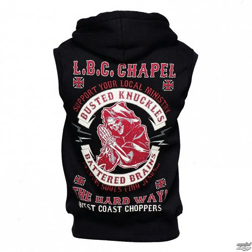 vesta pánska West Coast Choppers - CHAPEL SLEEVELESS HOODY - BLACK - WCCHD162ZW