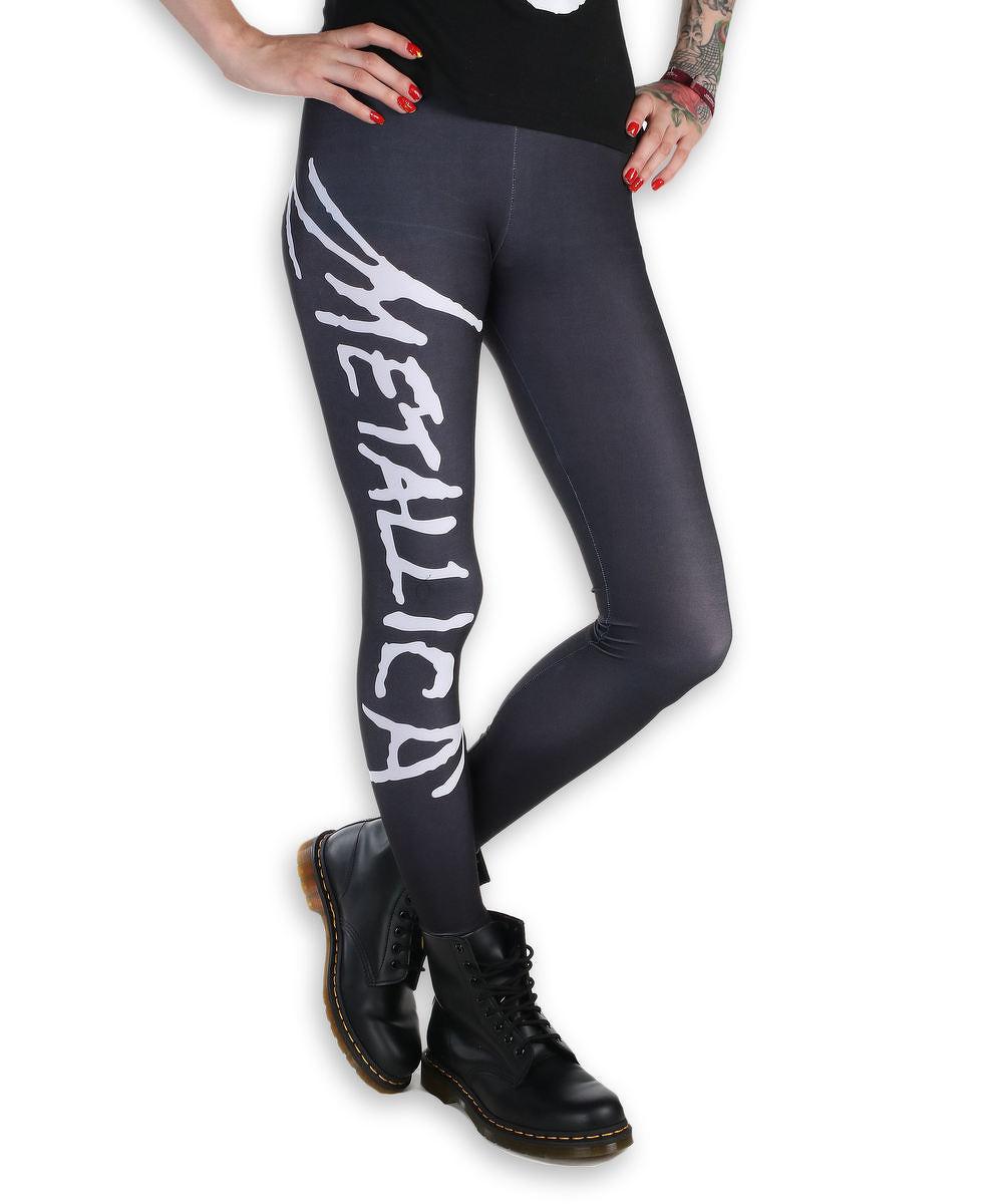 29e91e19a855 nohavice dámske (legíny) - Metallica - Logo - Black White - MET1001 ...