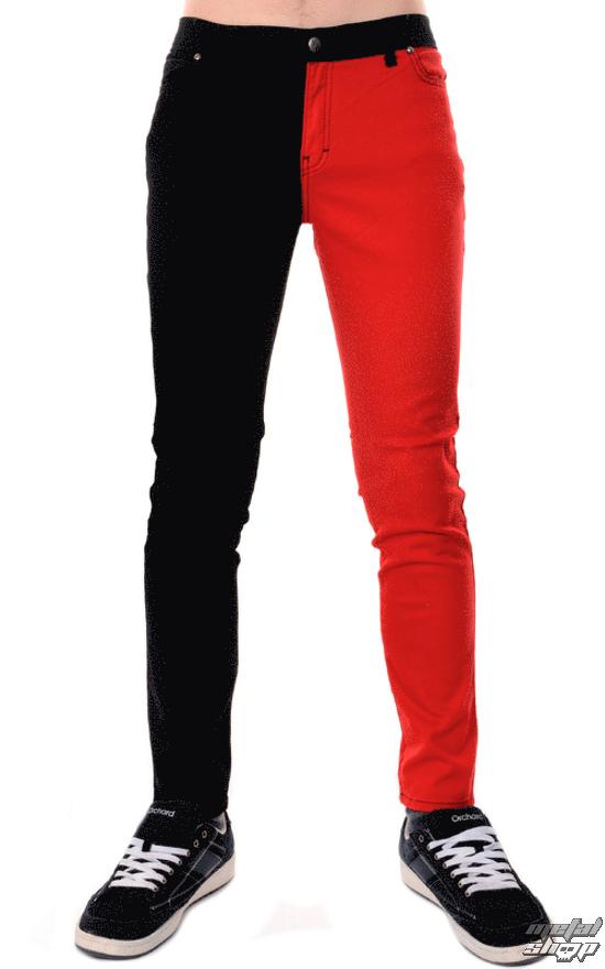 e44ba4bfa686 nohavice pánske 3RDAND56th - Split Leg Skinny - Blk Red - JM1249 ...